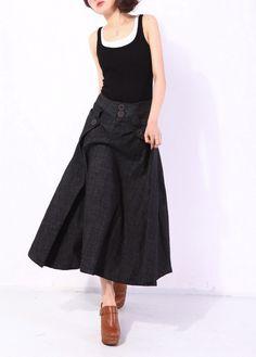 Heartbeat/pleated long skirt/3 colors/custom made. $68.00, via Etsy.