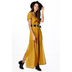Boohoo Natalya Chiffon Button Through Sliced Maxi Dress ($35) ❤ liked on Polyvore featuring dresses, olive, white v neck dress, white chiffon dress, maxi dresses, v-neck maxi dresses and olive green maxi dress