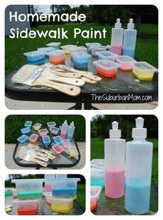 Homemade Sidewalk Chalk Paint - summer kids craft idea