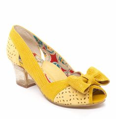 Look at this Miss L Fire Yellow Perforated Bette Leather Pump on #zulily today!