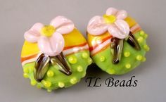 Summer Fun Handmade Lampwork Floral Glass Bead Set SRA by TLBeads, $16.00