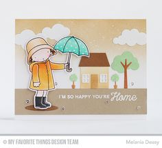 Showering You With Love Stamp Set and Die-namics, No Place Like Home Stamp Set, Home Sweet Home Die-namics, Oval Shadows Die-namics, Puffy Clouds Die-namics - Melania Deasy  #mftstamps