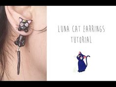 Polymer Clay Earrings Tutorial: Luna the cat from Sailor Moon - YouTube