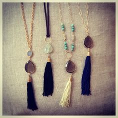 Tassels and colour co-ordinating stones on long chains perfect for any outfit.