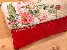 Red Hot Rosez back detail Decoupage Woven clutch