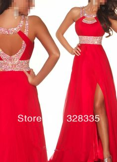 Prom Dresses 2014 New Arrival Prom Dresses A Line Scoop Sweep Brush Chiffon Red Evening Dresses With Slit , You will find many long prom dresses and gowns from the top formal dress designers and all the dresses are custom made with high quality Ball Gowns Prom, Pageant Dresses, Ball Dresses, Homecoming Dresses, Bridesmaid Dresses, Dresses 2013, Wedding Dresses, Bridesmaids, Mini Dresses