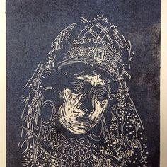Tres moricas, Fatima. Xilografía. Jesus de Juan, 2014.