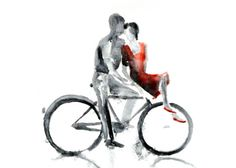 Bicycle love painting, Boy and girl on a bike watercolor Bike Illustration, Autumn Rain, Bicycle Art, Bicycle Painting, Cycling Art, Poster S, Love Painting, Couple Painting, Modern Wall Art