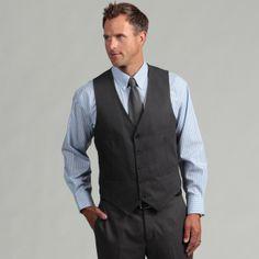 Kenneth Cole Reaction Men's Slim Fit Solid Grey Suit Separate Vest  $49.99