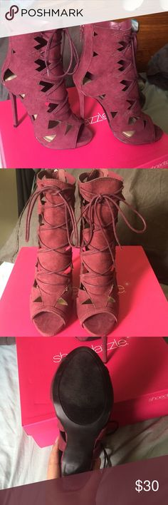 Heeled booties Suede burgundy booties. Worn for maybe 30 minutes. Great condition Shoe Dazzle Shoes Lace Up Boots