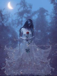 White Spirit by VanessaPadua on DeviantArt Dark Gothic Art, Gothic Fantasy Art, Fantasy Kunst, Fantasy Girl, Dark Fantasy, Dibujos Tumblr A Color, White Spirit, Arte Obscura, Moon Photography