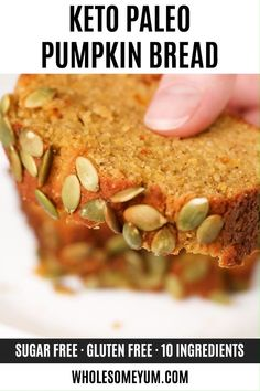 Keto Paleo Low Carb Pumpkin Bread Recipe - Quick & Easy - This moist, keto low carb pumpkin bread is made with almond flour & coconut flour. And, this paleo pumpkin bread recipe is EASY with 10-minute prep! Sugar-free and gluten-free, but tastes just like the real thing. #wholesomeyum #keto #lowcarb #bread #ketobread #pumpkinbread #ketopumpkinbread #easyrecipe #healthyrecipe #breakfast #snack Low Carb Pumpkin Bread Recipe, Lowest Carb Bread Recipe, Ginger Bread Cookies Recipe, Quick Bread Recipes, Healthy Low Carb Recipes, Keto Recipes, Paleo Food, Snack Recipes, Paleo Diet