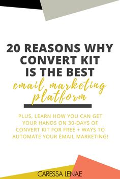 20 Reasons Why Convert Kit Is The Best Email Marketing Platform — CaressaLenae Social Marketing, Email Marketing Design, Email Marketing Campaign, Email Marketing Strategy, Email Design, Business Marketing, Content Marketing, Business Tips, Online Marketing