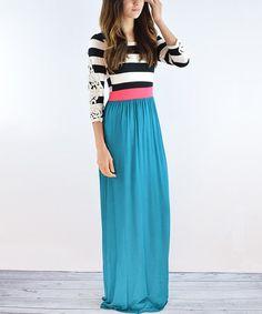 Teal Color Block Maxi Dress #zulily #zulilyfinds