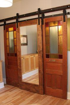 Decorations, Creative Interior Sliding Barn Doors Inspiration: Minimalist  Red Oak Double Door Sliding Barn Door With Simple Top Rail And Chi.