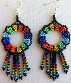 Mexican Huichol Beaded Earrings by Aramara on Etsy Beaded Earrings Native, Bead Earrings, Beaded Jewelry Patterns, Beaded Ornaments, Beads And Wire, Beading Tutorials, Artisanal, Beaded Flowers, Bead Art