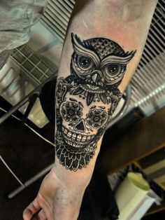 owl and sugar skull tattoo - Bing images