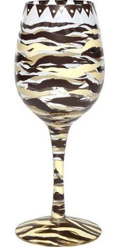Chocolate Zebra Wine Glass by Lolita  RETIRED