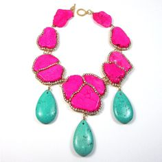 Statement Necklace pink and green turquoise crystal embellished... ($249) found on Polyvore