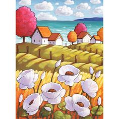 PAINTING Original Coastal Cottage Garden Folk Art by Cathy Horvath, Seaside White Flowers, Summer Landscape Artwork Acrylic on Canvas Original Artwork, Original Paintings, Night Shadow, Landscape Artwork, Colorful Trees, Paintings I Love, Naive Art, Illustrations, New Art