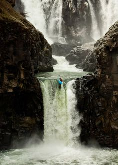 Whitewater kayak: waterfall. Lost in America. It always amuses me that when you google words like courage, mixed in with all the quotes, you will find a picture like this.