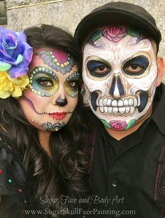 Sugar skulls                                                       … Sugar Skull Halloween, Scary Halloween, Halloween 2017, Sugar Skull Costume, Halloween Make Up, Halloween Face Makeup, Halloween Costumes, Sugar Skull Makeup, Sugar Skulls