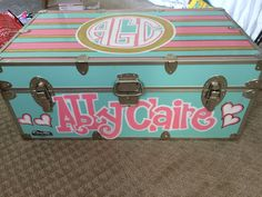 Painted Cool Customized hand painted trunk for summer camp or going off to college! Pick your own co Summer Camp Packing, Camping Packing, Camping Hacks, Painted Trunk, Hand Painted, Camp Trunks, Care Box, Camping With Kids, Kids Camp