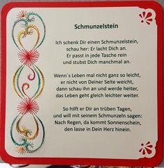 """Gastgeschenk / Glücksbringer """"Schmunzelstein"""" mit einem roten Schmunzelstein  Doppelkarte mit Fadengrafik Motiv 2 und Spruch """"Ich schenk´Dir einen Schmunzelstein"""" Format 13,5 x 13,5 cm mit..."""
