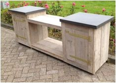 Wooden Crates Crafts, Crate Crafts, Outdoor Kitchen Bars, Outdoor Kitchen Design, Garden Solutions, Outdoor Furniture Plans, Fire Pit Backyard, Outdoor Living, Outdoor Decor
