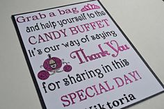 Cinderella Theme Candy Buffet Sign / Candy Bar by TwinPerfection2