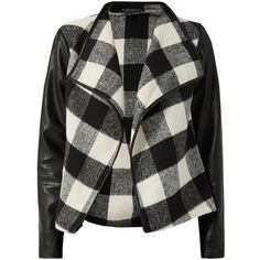 Parisian Black Contrast Sleeve Grid Check Waterfall Jacket ($28) ❤ liked on Polyvore featuring outerwear, jackets, waterfall jacket, print jacket, open front jacket, parisian jacket and pattern jacket