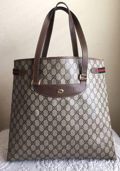 1665adb31cb Details about GUCCI Vintage GG Supreme Web Shoulder Tote Bag