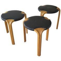 Set of Three Alvar Aalto X600 Stools | From a unique collection of antique and modern side tables at https://www.1stdibs.com/furniture/tables/side-tables/