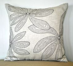 Natural Linen Pillow Cover Leaf Throw Pillow by KainKain on Etsy