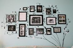 picture wall ideas DIY Photo Display - Only I'd use some color. Picture Tree, Picture Frames, Photo Tree, Picture Walls, Picture Collages, Picture Ideas, Black Picture, Family Photo Walls, Photowall Ideas