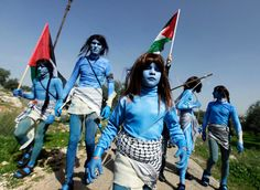 Accidental Inspiration - Palestinians dressed as the Na'vi from the film Avatar stage a protest against Israel's separation barrier - Telegraph