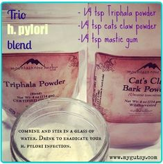 trio h. pylori blend to eradicate h. pylori. 1/4 tsp cats claw. 1/4 tsp triphala. 1/4 tsp mastic gum. mix in water