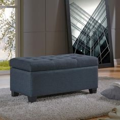 Shop for Sarah-Storage Ottoman-Grey Blue. Ships To Canada at Overstock.ca - Your Online Furniture Outlet Store!  - 24366278
