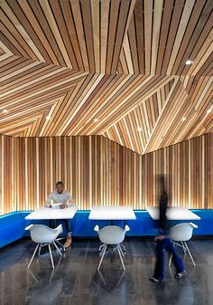 Angled wall and ceiling wood planks
