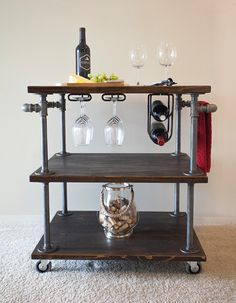 Industrial Pipe Wine / Bar / Kitchen Cart with Built-In Wine Glass Holder and Wine Bottle Holder by IndustrialDesignsByB on Etsy https://www.etsy.com/listing/277778456/industrial-pipe-wine-bar-kitchen-cart