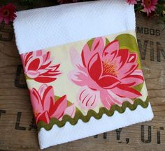 dish towel material by the yard | Pink Floral Fabric Kitchen Towel Tea Guest Dish by TerraceHill, $8.75