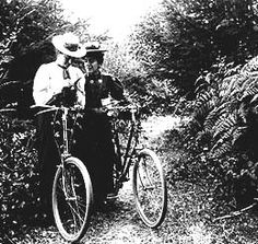 Two women on bicycles, Aug. 24, 1898.  Creator: William Holmes Wilcox.  Before the 1890s, bicycle design and long skirts kept most women from joining men in the new craze for cycling. It wasn't considered proper for a women to wear short skirts or show her legs. By 1895, a number of Seattle women were taking cycling classes and wearing baggy pants called bloomers as they cycled along the city's growing network of trails.