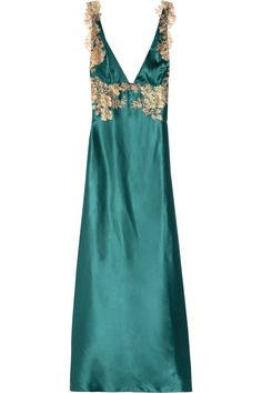 Rosamosario:  Classica Bellezza, long silk-satin teal chemise with gold Chantilly lace embellishments.