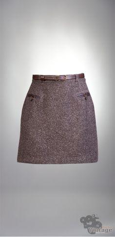 Vintage 70´s Mini Wool Mottled Brown Skirt