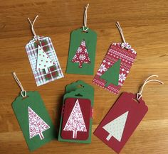 Stampin up Christmas tags and holde using tag top punch, tree punch and festival of trees