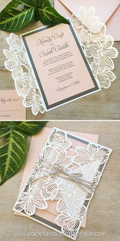 How to diy laser wedding invitations with slide in cards free mandy white shimmer laser cut wedding invitation with blush card stock charcoal grey accents solutioingenieria Gallery