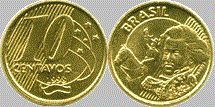 Moeda brasileira de 10 centavos de real 1998