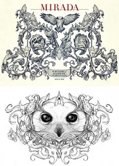 James worked with the new company Mirada, and specifically two of its founding partners Guillermo Del Toro and Mathew Cullen, to develop their coat of arms logo. The second drawing is a rejected sketch from the process. See it on James's blog here, as well as his latest sketches (like the woman/lettuce/tanuki one above) and paintings in greater detail.