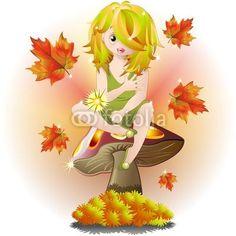 Fairy on Autumn Mushroom-Vector © bluedarkat