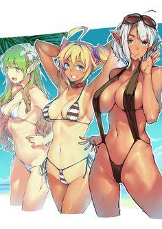 エルフ ? ダークエルフ - More at https://pinterest.com/supergirlsart/ #original #oc #sexy #anime #girls #swimsuit